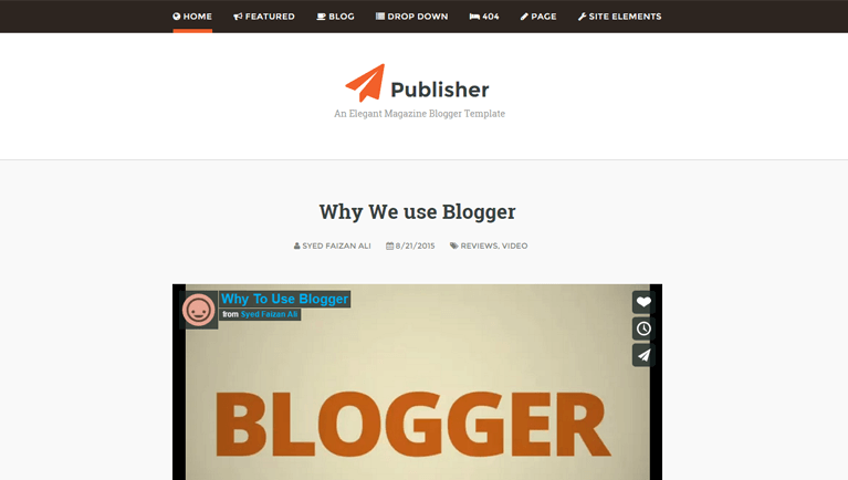 Publisher Responsive Blogger Template