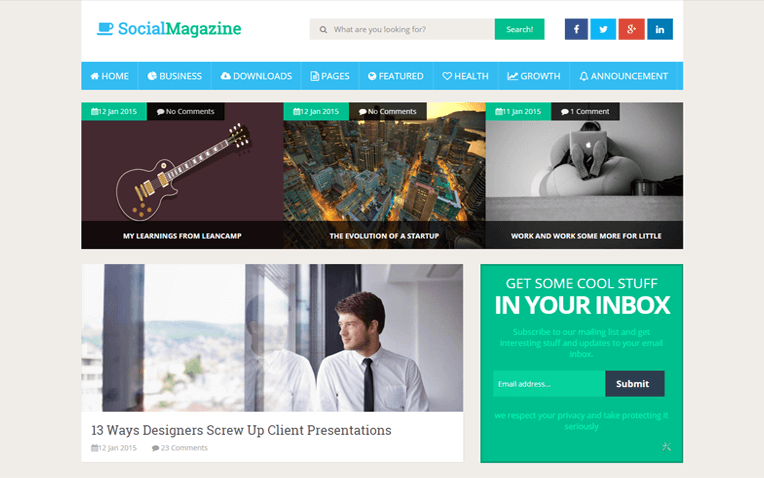 Social Mag Blogging Blogger Template