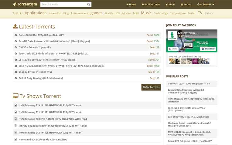 Torrentism Responsive Blogger Template
