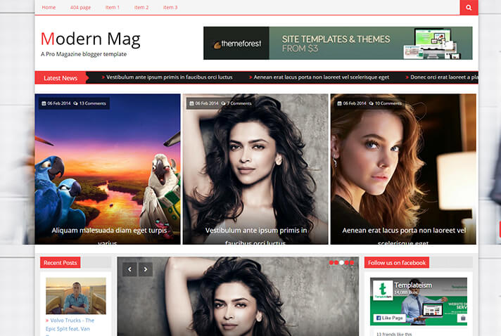 Modern Mag Multimedia Blogger Template