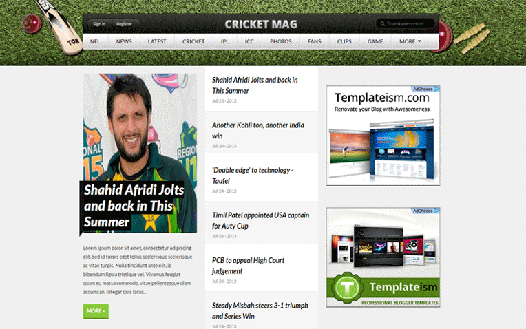 Cricket Mag Sports Blogger Template