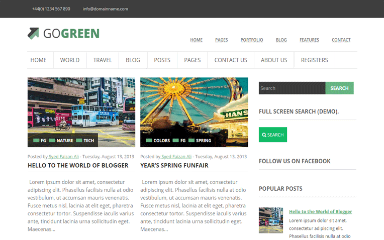 GoGreen multipurpose Blogger Template