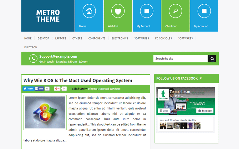 Metro UI Innovative Blogger Template