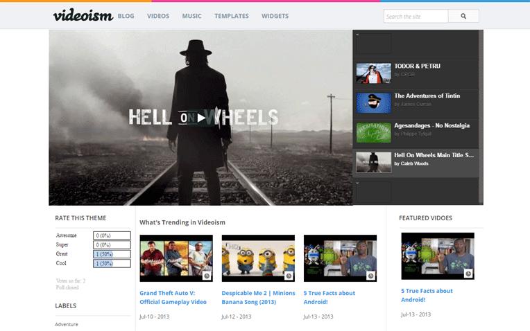 Videoism video hosting Blogger Template