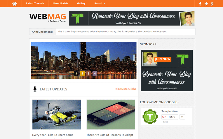 WebMag Multipurpose Blogger Template