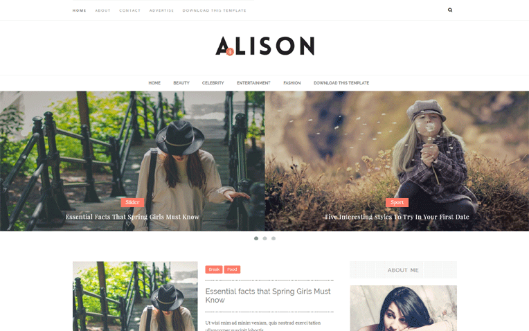 Alison Minimal Responsive Blogger Template