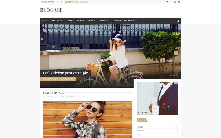 Blogari simplistic professional Responsive Blogger Template