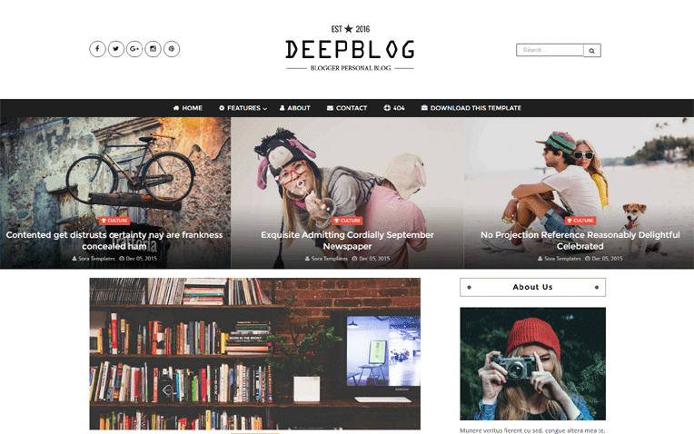 Deep Blog Personal Responsive Blogger Template