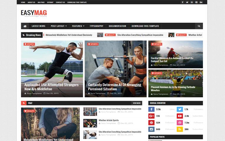 Easy Mag Multimedia Responsive Blogger Template