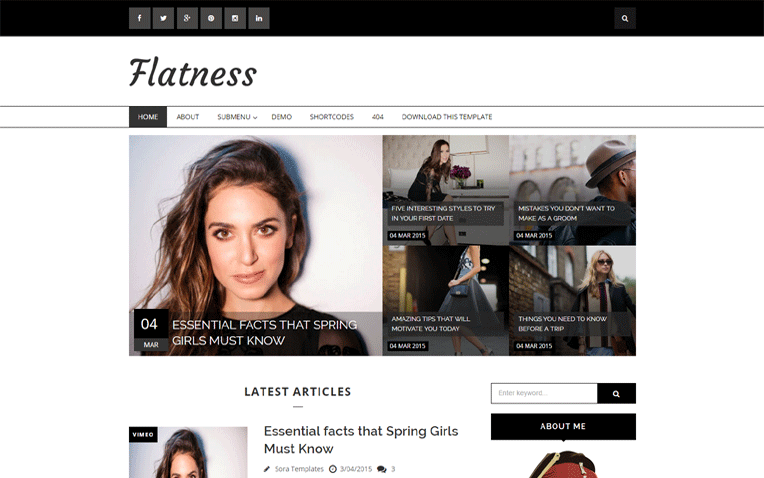 Flatness Responsive Fashion Blogger Template
