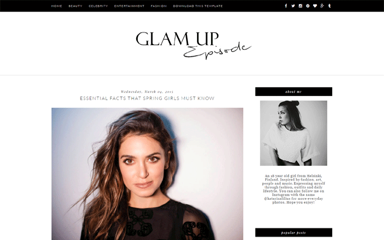 Glam Up ultra-clean Essential Amazing Blogger Template