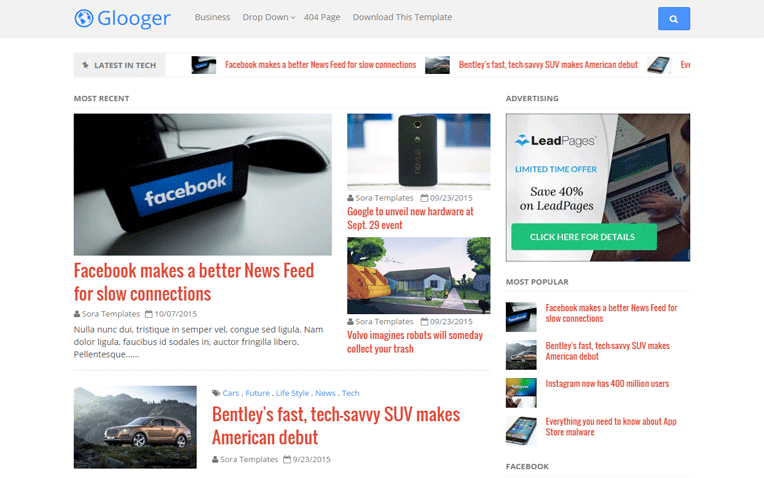 Glooger All purpose Amazing Responsive Blogger Template