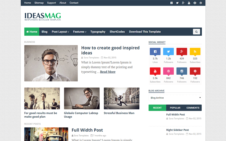 Ideas Mag Simple Magazine Blogger Template