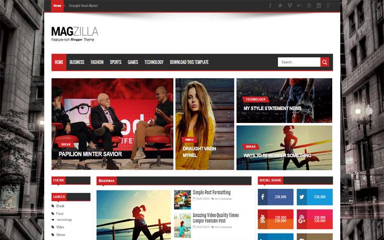 Mag Zilla Responsive Magazine Blogger Template
