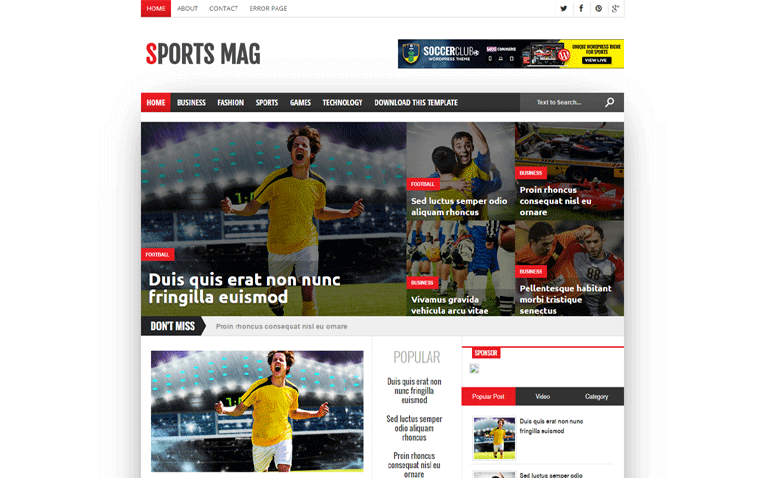 Sports Mag Versatile Blogger Template