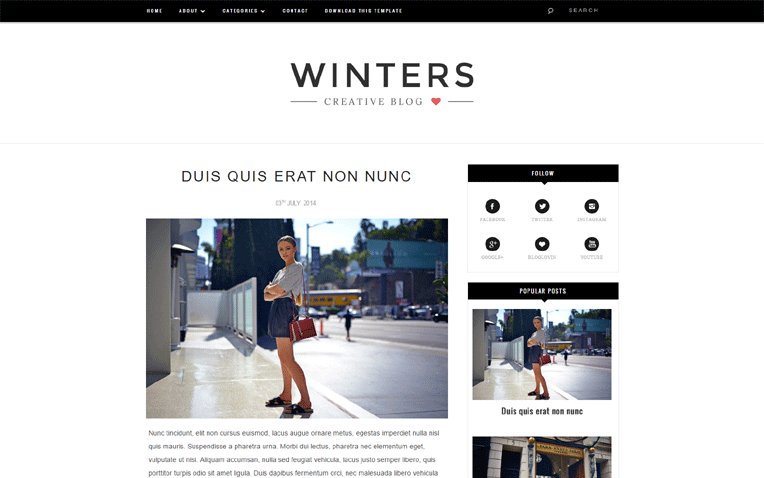 Winters Responsive Blogger Template