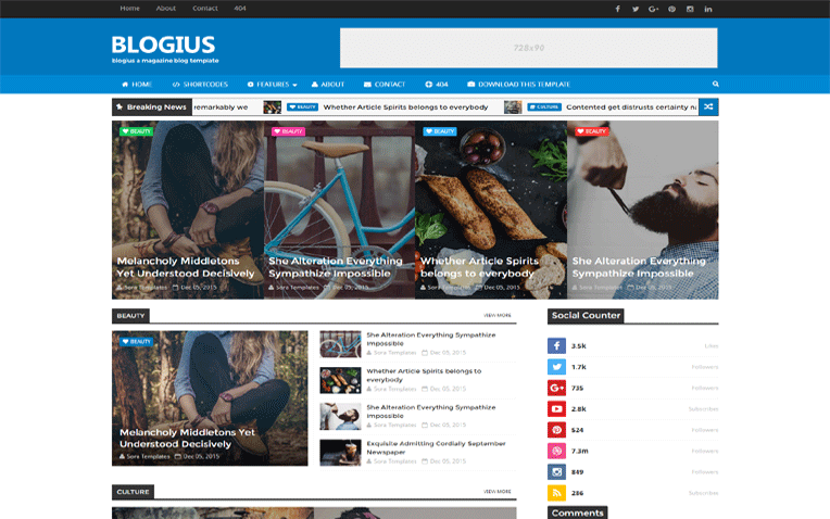 Blogius Customize Elegant Optimized Blogger Template