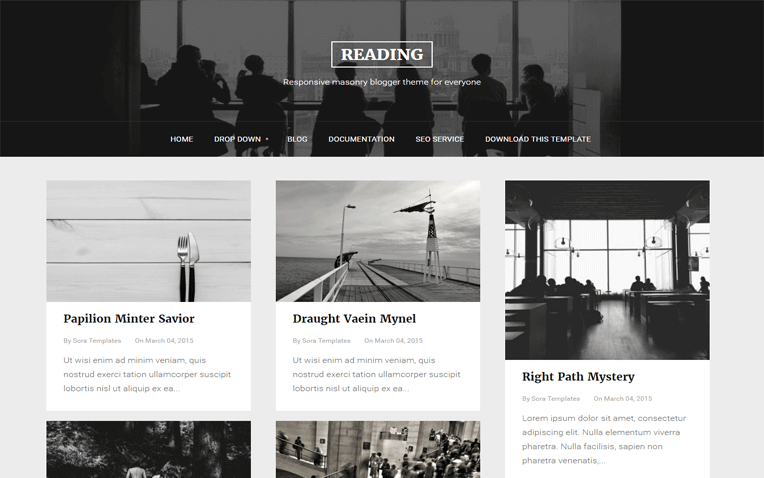 Reading Responsive masonry Blogger Template