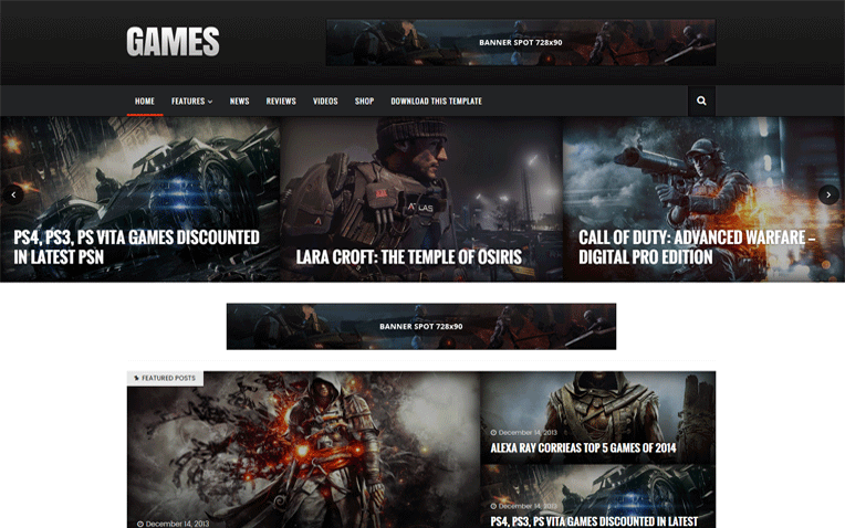 Sora Games Premium Professional Blogger Tempalate