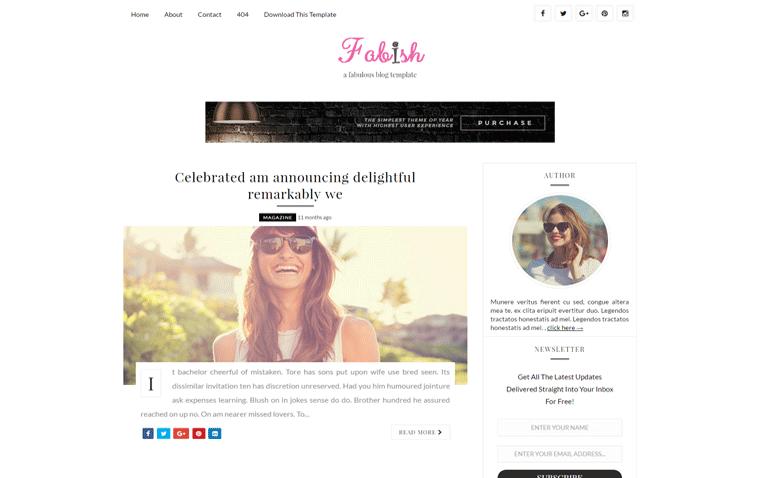 Fabish Elegant Clean Magazine Responsive Blogger Template