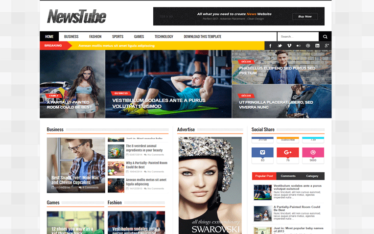 NewsTube Flexible Magazine Professional Blogger Template
