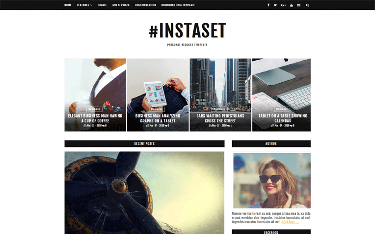 Instaset Professional Responsive Blogger Template