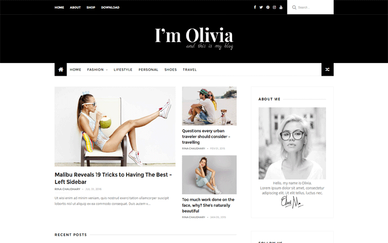 Olivia Minimalistic Perfect Lifestyle Blogger Template