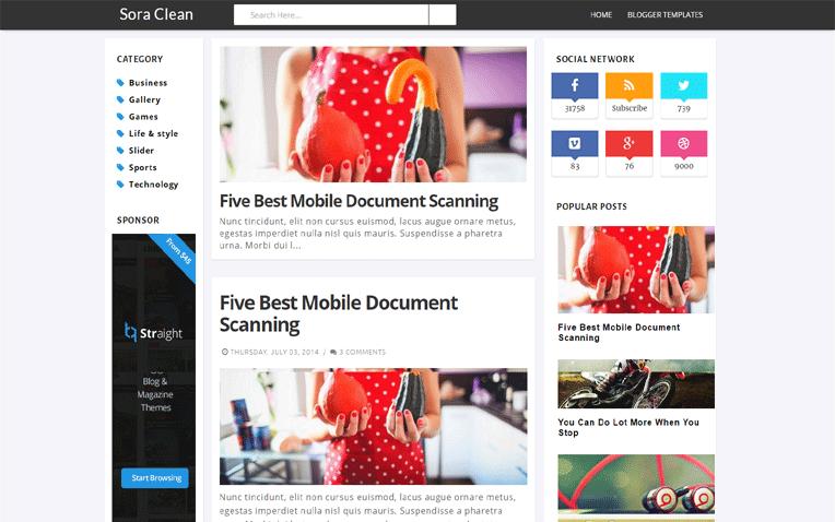 Sora Clean Flexible Informative Blogger Template