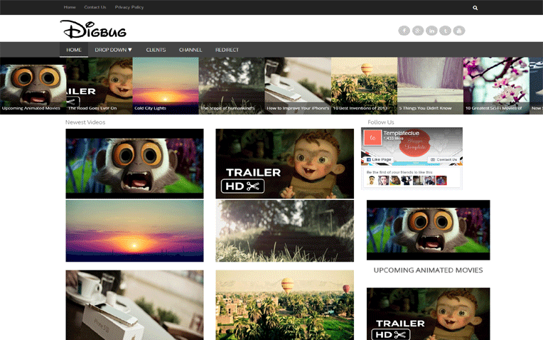 Digbug Video One Page Responsive Blogger Template