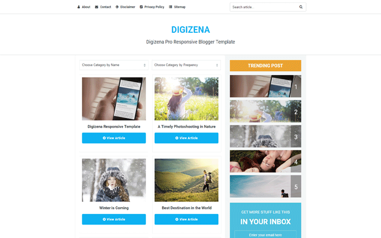 pro photo blog templates - digizena pro responsive clean blogger template