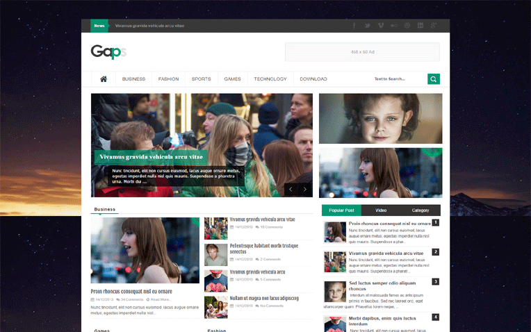 Gaps Simple Clean Professional Blogger Template