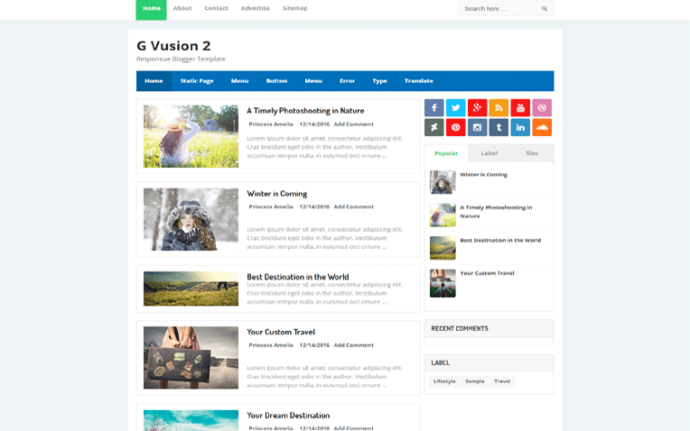 G Vusion 2 Simple Clean Responsive Blogger Template