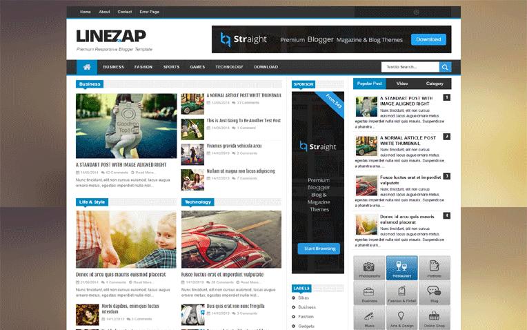 Linezap News Magazine Portofolio Blogger Template