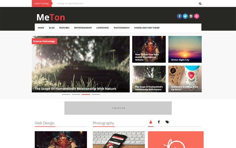 Meton Multi layout Style Responsive Blogger Template