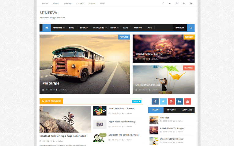 Minerva SEO Friendly Responsive Blogger Template