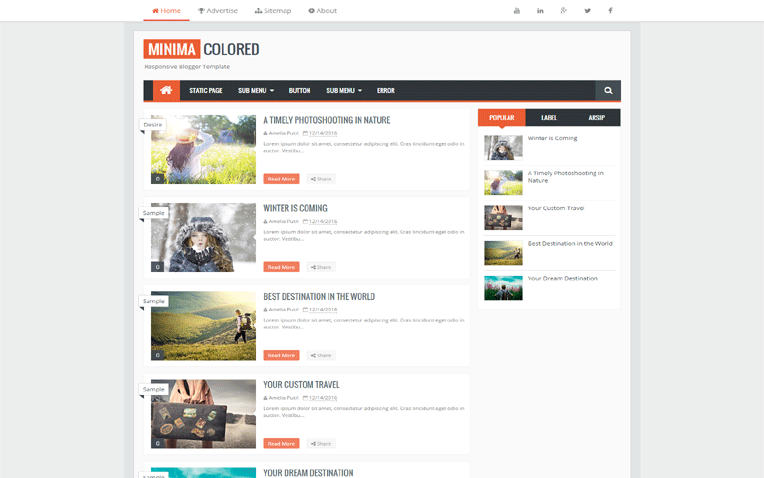 Minima SEO Friendly Responsive Blogger Template