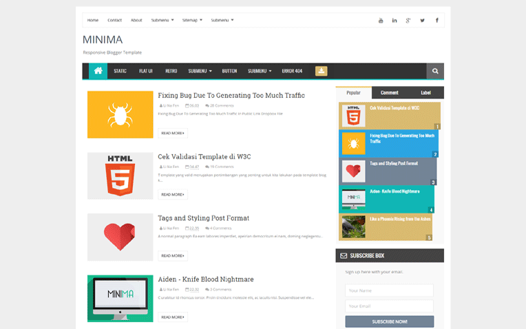 Minama Simple Personal Responsive Blogger Template