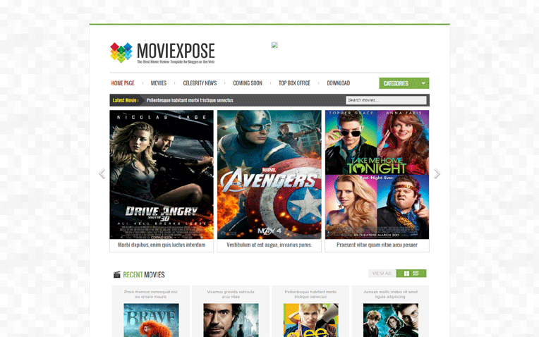 Moviexpose Unique Entertainment Blogger Template