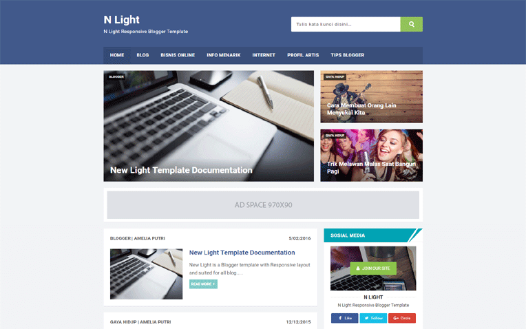 N Light SEO Friendly Responsive Blogger Templare