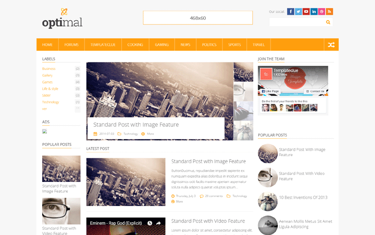 Optimal Business Clean Modern Blogger Template