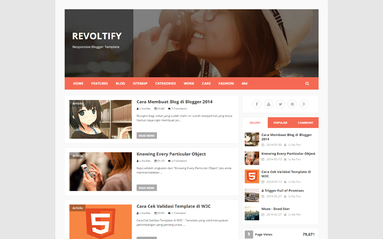 Revoltify Simple Clean Responsive Blogger Template