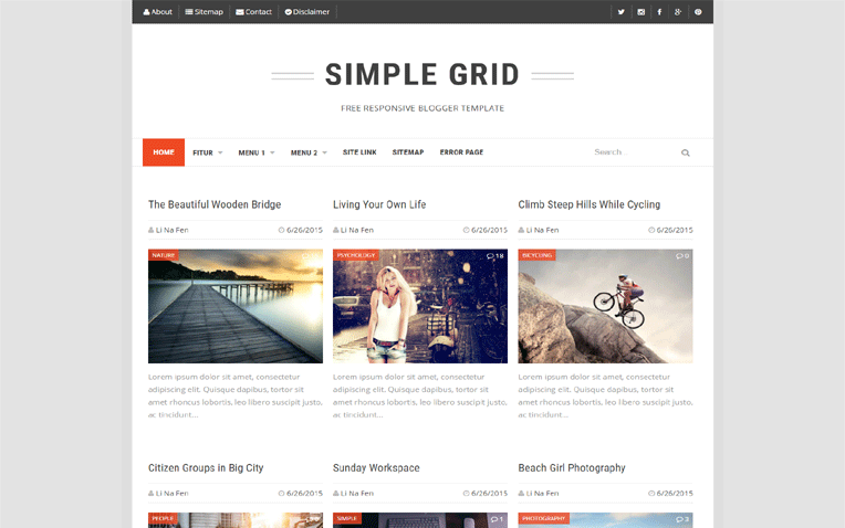 Simple Grid Seo Friendly Responsive Blogger Template