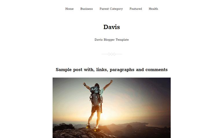 Davis Portfolio Photolog Responsive Blogger Template