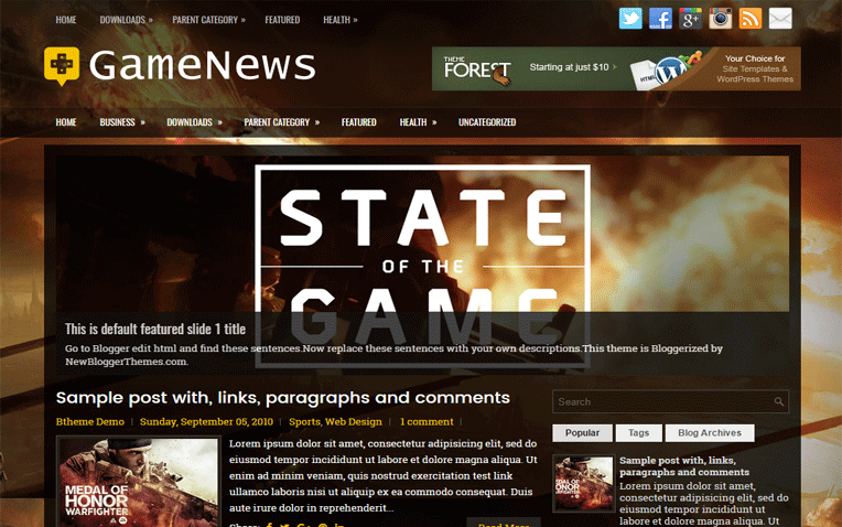 GameNews Entertainment Clean Blogger Template