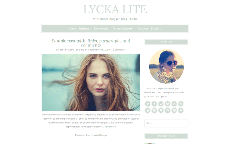 Lycka Lite One Page Responsive Blogger Template