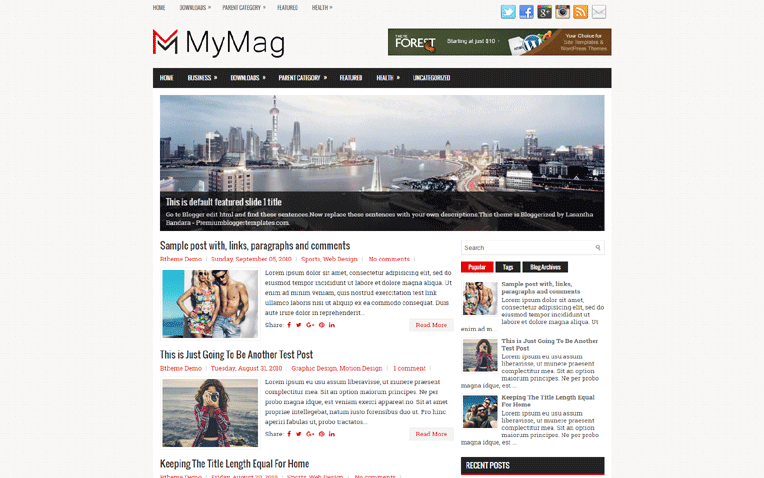 MyMag Amazing Simple Magazine Blogger Template