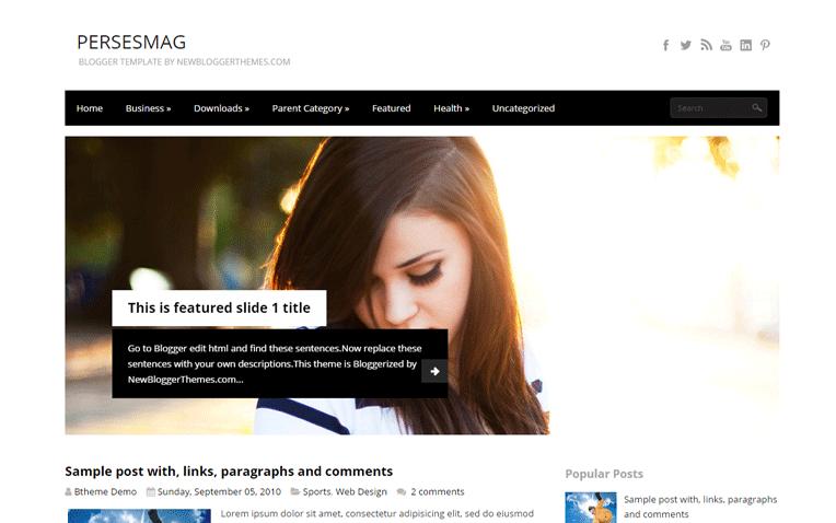 PersesMag Professional Elegant Blogger Template