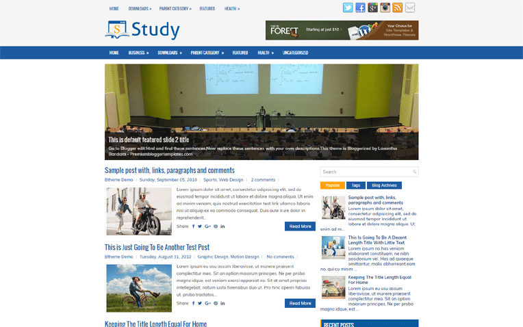 Study Elegant Magazine Premium Blogger Template