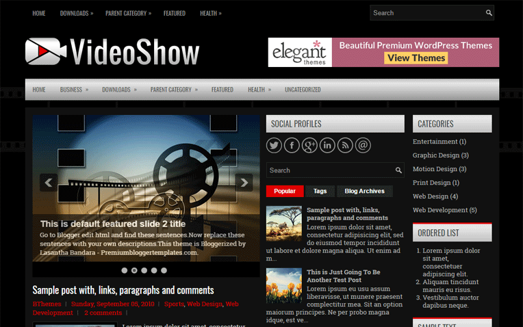 VideoShow Premium Mobile Friendly Blogger Template