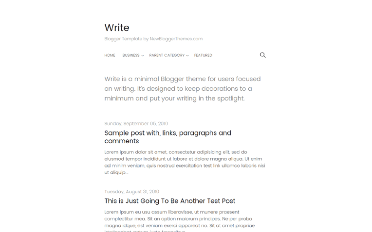 Write Simple Elegant Responsive Blogger Template